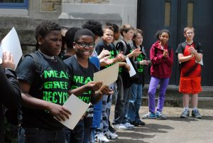 Students celebrating the launch of GBA's Green and Healthy School initiative