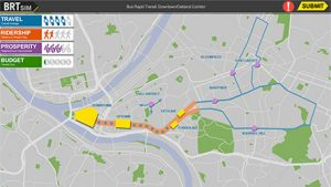 A map of the proposed BRT route, courtesy of GetTherePgh