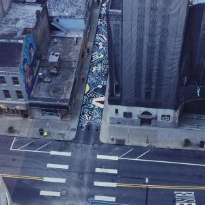 An aerial view of Strawberry Way, courtesy of the Pittsburgh Downtown Partnership